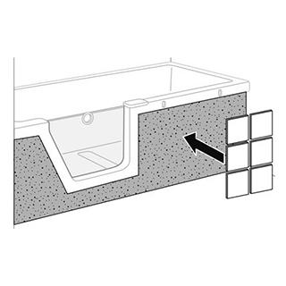Fliesenträger Duscholux Front, zu Badewanne Step-in PURE 1124 241
