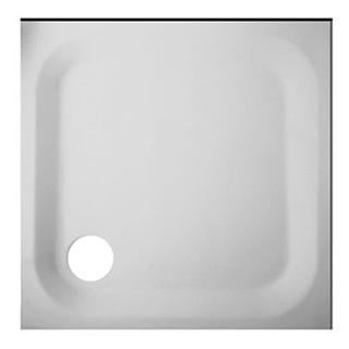 Duschenwanne Schmidlin-Zargen 80 x 80 cm, Zargen vorne und rechts, Stahl Ablauf hinten l...