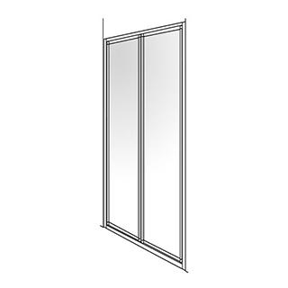 Gleitfalttüre Duscholux Optima 300, 2-teilig Höhe 190 cm Breite 98 - 100 cm