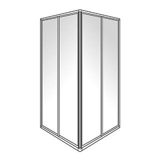 Eckeinstieg Duscholux Optima 300, Gleittüren 2-teilig, Höhe 190 cm, 100 x100 cm