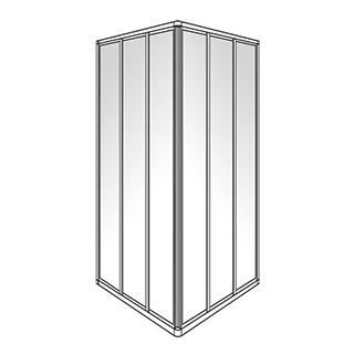 Eckeinstieg Duscholux Optima 300, Gleittüren 3-teilig, Höhe 190 cm, 90 x 90 cm