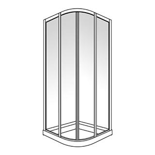 Eckeinstieg Duscholux Optima 300, 80 x 80 cm, Höhe 190 cm Round Viertelkreis 2 Schiebetüren