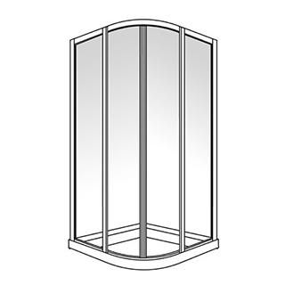 Eckeinstieg Duscholux Optima 300, 90 x 90 cm, Höhe 190 cm Round Viertelkreis 2 Schiebetüren