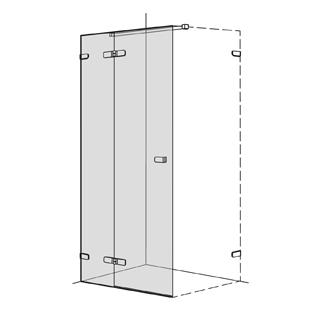 Flügeltüre Koralle S505 Höhe 200 cm, Band links mit Festelement Breite 70 - 100 cm