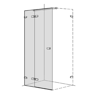 Flügeltüre Koralle S505 Höhe 200 cm, Band links mit Festelement Breite 100,1 - 140 cm
