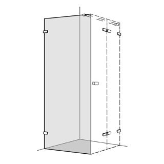 Seitenwand Koralle S505 Höhe 200 cm, Band links zu Flügeltüren 100,1 - 120 cm