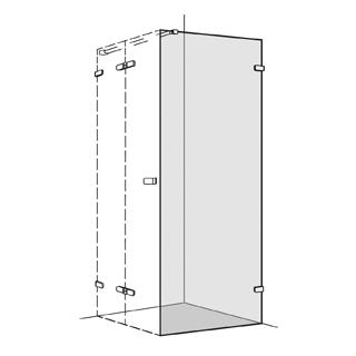 Seitenwand Koralle S505 Höhe 200 cm, Band rechts zu Flügeltüren 100,1 - 120 cm