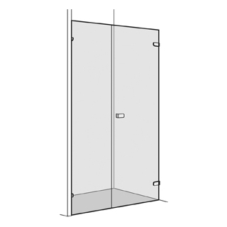 Flügeltüre Koralle S505 Höhe 200 cm, Band rechts mit Seitenwand in Front Breite 70 - 100 cm