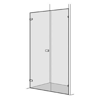 Flügeltüre Koralle S505 Höhe 200 cm, Band links mit Seitenwand in Front Breite 140,1 - 1...