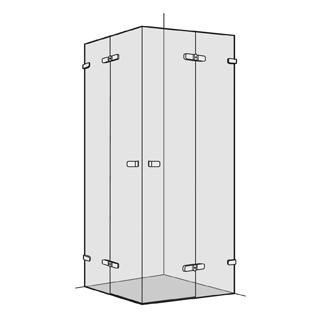 Eckeinstieg Koralle S505 2 Flügeltüren mit Festelementen 100,1 - 150 cm