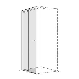 Pendeltüre Koralle S800 Höhe 200 cm, Band links mit Festelement Breite 78,5 - 80 cm