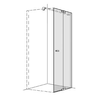 Pendeltüre Koralle S800 Höhe 200 cm, Band rechts mit Festelement Breite 118,5 - 120 cm