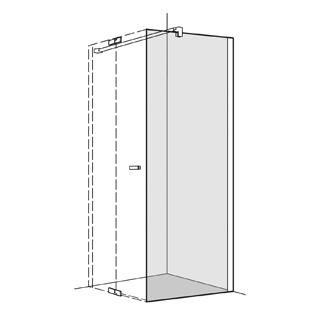 Seitenwand Koralle S800 Höhe 200 cm, Band rechts zu Pendeltüren 78,5 - 80 cm