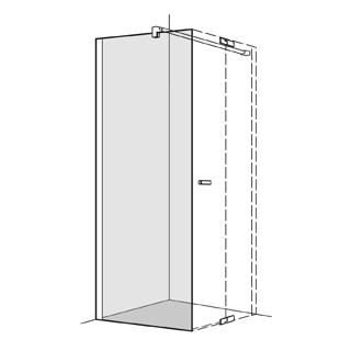 Seitenwand Koralle S800 Höhe 200 cm, Band links zu Pendeltüren 118,5 - 120 cm
