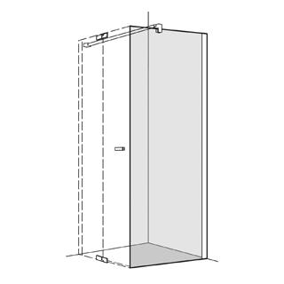 Seitenwand Koralle S800 Höhe 200 cm, Band rechts zu Pendeltüren 118,5 - 120 cm