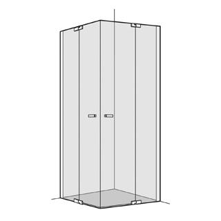 Eckeinstieg Koralle S800 2 Pendeltüren mit Festelementen 78,5 - 80 cm