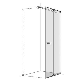 Pendeltüre Koralle S808 Höhe 200 cm, Band rechts mit Festelement Breite 70 - 100 cm