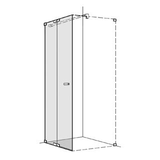 Pendeltüre Koralle S808 Höhe 200 cm, Band links mit Festelement Breite 100,1 - 140 cm
