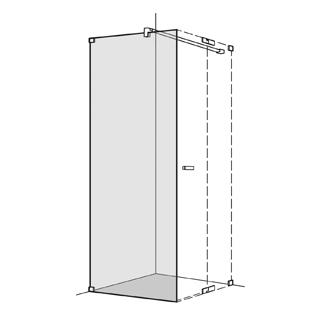 Seitenwand Koralle S808 Höhe 200 cm, Band links zu Pendeltüren Breite 101,1 - 120 cm
