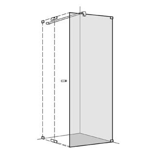 Seitenwand Koralle S808 Höhe 200 cm, Band rechts zu Pendeltüren Breite 120,1 - 140 cm