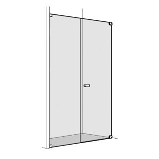 Pendeltüre Koralle S808 Höhe 200 cm, Band rechts mit Seitenteil in Front Breite 70 - 100 cm