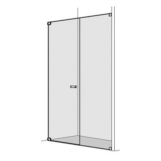 Pendeltüre Koralle S808 Höhe 200 cm, Band links mit Seitenteil in Front Breite 140,1 - 1...