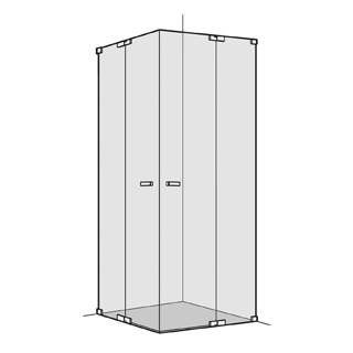 Eckeinstieg Koralle S808 2 Pendeltüren mit Festelementen Breite 70 - 100 cm