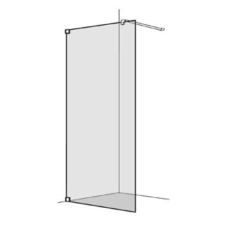 Seitenwand Koralle S808 freistehend Höhe 200 cm, Band links Breite 100 - 120 cm