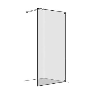 Seitenwand Koralle S808 freistehend Höhe 200 cm, Band rechts Breite 100 - 120 cm