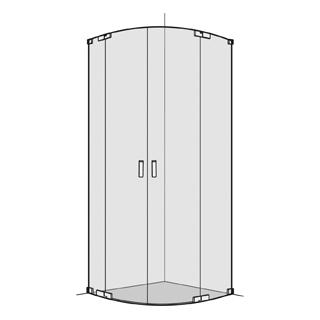 Eckeinstieg Koralle S808 Viertelkreis 100,1 - 120 cm, R 520 mm