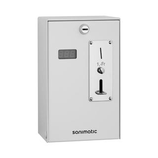 Münzautomat Sanimatic Zahleinheit Fr. 1.-- Gehäuse Stahl weiss, 24 V zu Duschensteuerung...