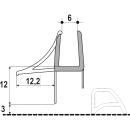 Abtropfdichtung unten horizontal mit Abschlussteilen für 6 mm Glas Länge 1000 mm